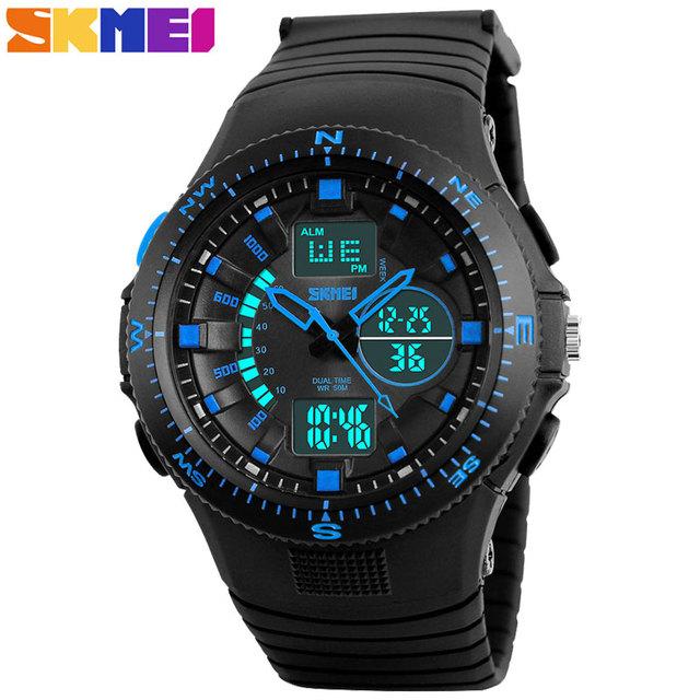 Skmei marca hombres deportes relojes moda pantalla dual relojes analógico digital led de cuarzo resistente al agua relojes de pulsera relogio masculino