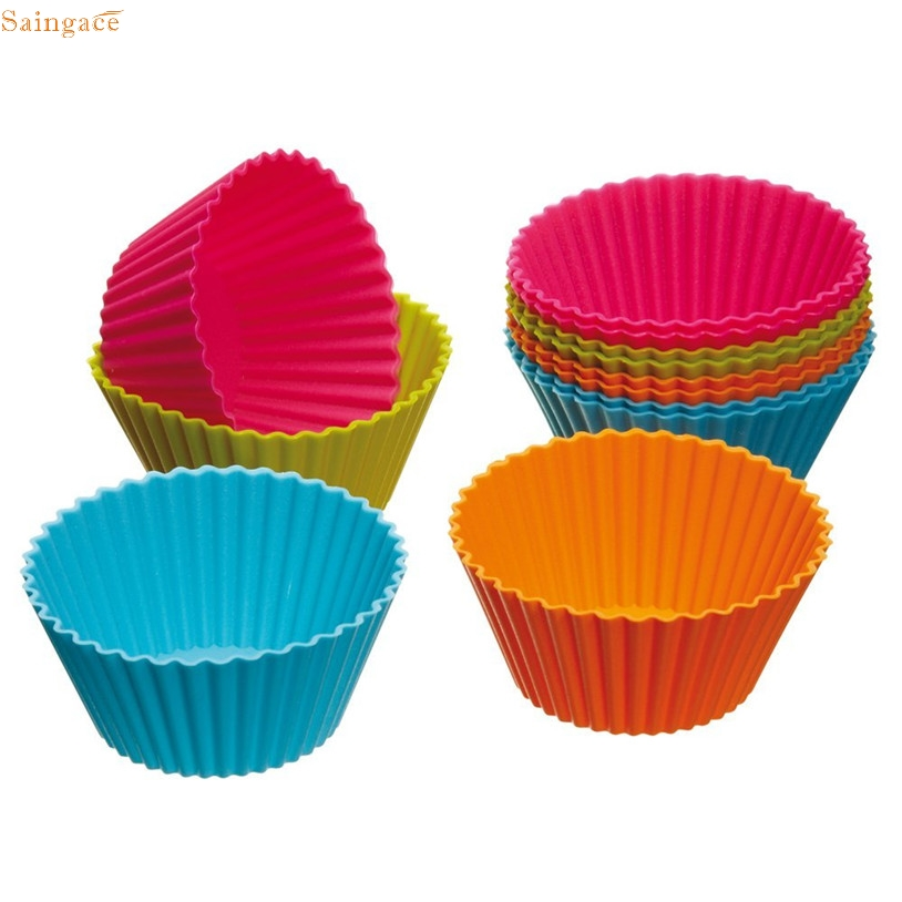 Saingace 12 UNIDS paper cup cake Kitchen Craft Colourworks Silicona Cajas de La