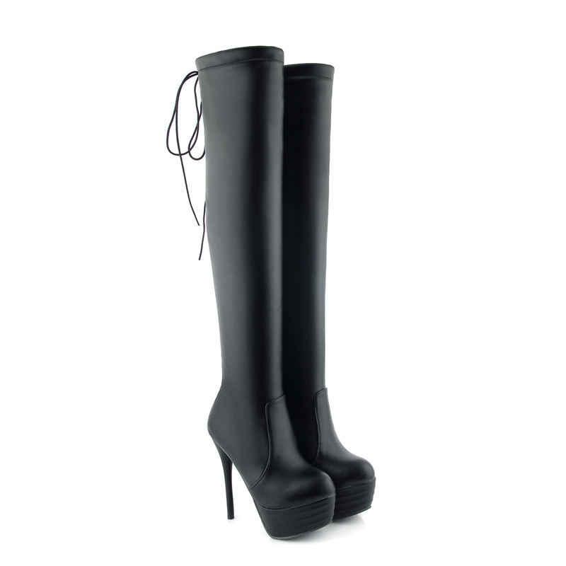 MORAZORA büyük boy seksi süper yüksek topuk diz çizmeler yuvarlak ayak stiletto topuk kadın botları moda kayma platform çizmeler