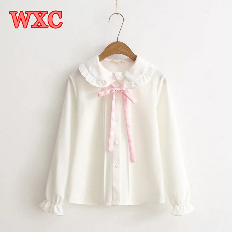 Women Chiffon Blouse 2017 Fresh Pink Bow Tie Petter Pan Collar Lolita Shirt Korean Style Womens Clothing Harajuku Mori Tops  WXC