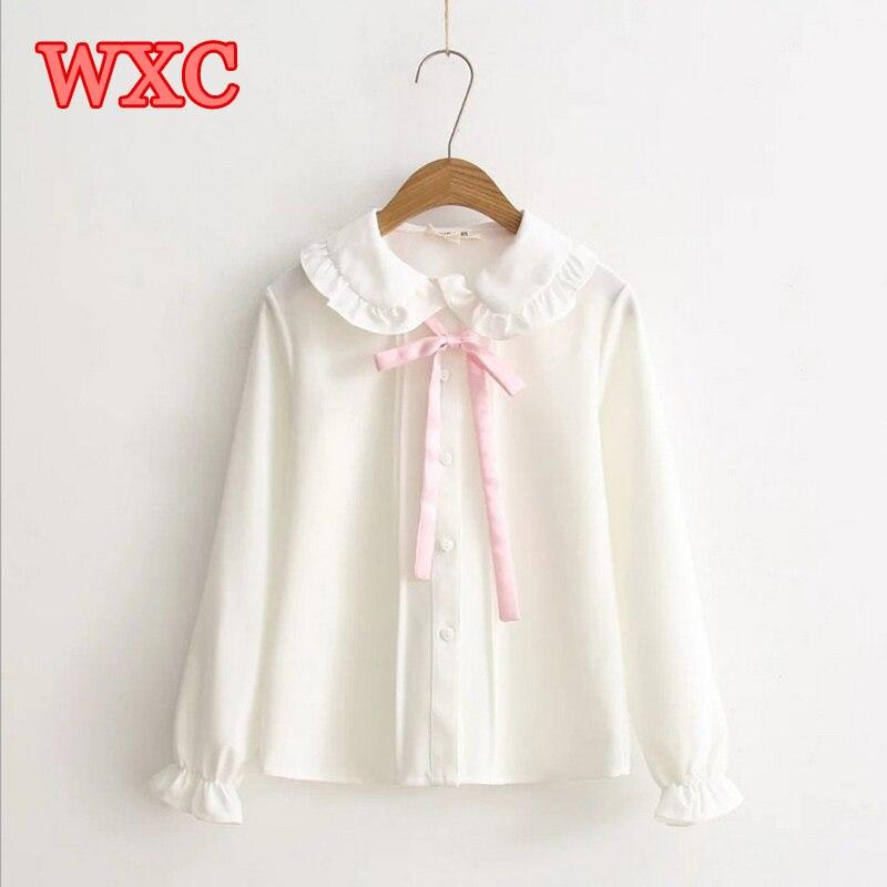 Women Chiffon Blouse 2017 Fresh Pink Bow Tie Petter Pan Collar Lolita Shirt Korean Style Womens Clothing Harajuku Mori Tops  WXC