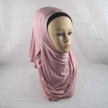 2 петли обычный хлопок Джерси мгновенных платки полное покрытие внутренние мусульманские хлопок хиджаб Исламская голову носить шляпу Хид PHTL001