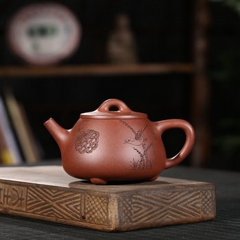 ore bottom groove qing mouth wide stone carved gourd ladle pot painted suit the teapot tea famous all hand big goods