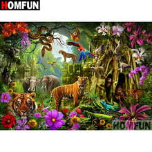 HOMFUN Full Square/Round Drill 5D DIY Diamond Painting Forest Tiger Embroidery Cross Stitch Home Decor Gift A07301