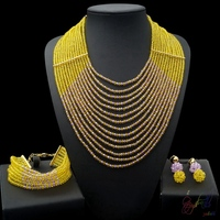 Yulaili Free Shipment High Quality Artificial Design Ladies Crystal Beads Three Jewelry Sets
