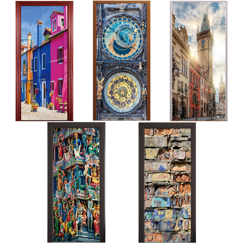 3D Adesivo Porta del Tempio di Praga Piazza Orologio Torre Venezia Via Mattoni Ristrutturazione Porta di Legno Della Decorazione Della Casa Pasta Murale 77x200 cm