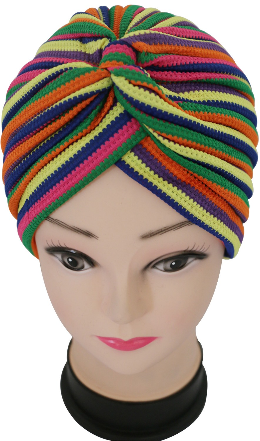 цены  2017 New Fashionable Ladies Multicolor Striped Turban Hats Hijab Indian Cap For Women