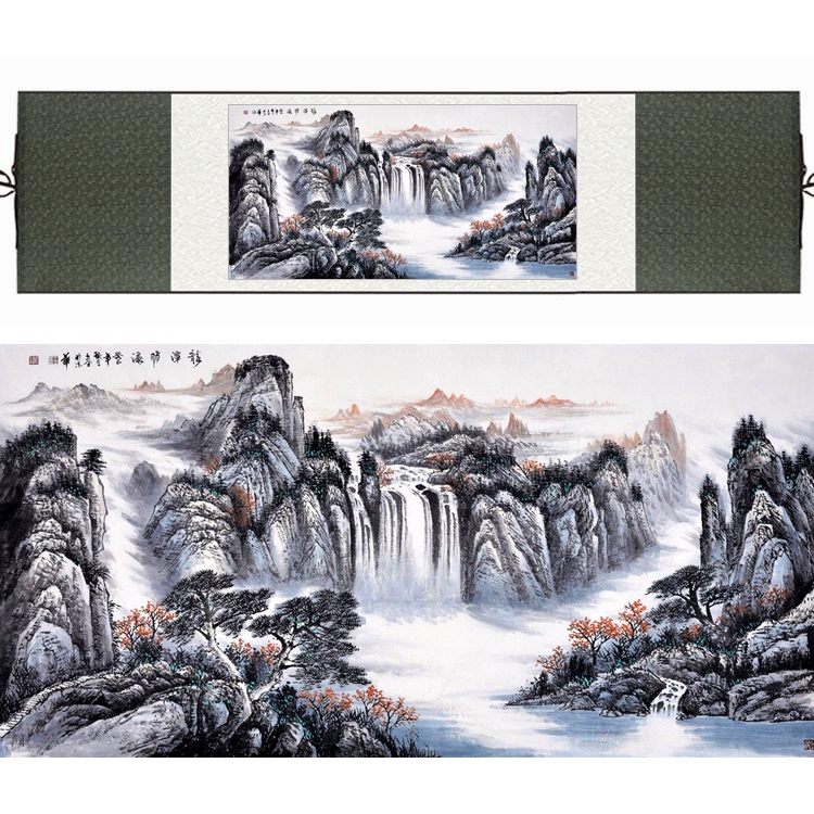 Chinese Silk Watercolor ink waterfall art mountain sunrise Landscape Feng Shui canvas wall picture damask framed scroll painting ...