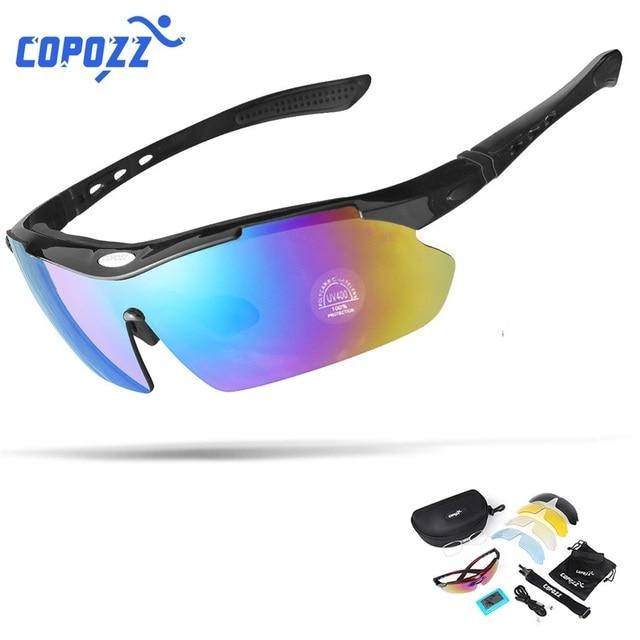 COPOZZ Polarized Cycling Glasses Road Men Sport Sunglasses Mountain Bike MTB Bicycle Riding Cycling Goggles Eyewear 5 Lenses