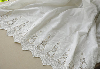 5 yards cotton lace fabric with retro floral by the yard, cotton embroidered lace fabric