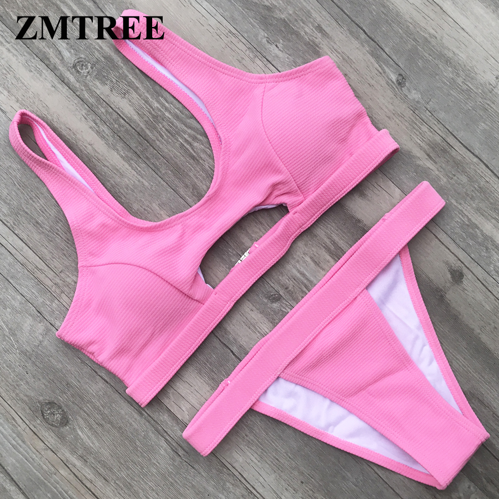 ZMTREE Oco Out Bikini Set Push Up Swimwear Mulheres <font><b>Swimsuit</b></font> rosa Verde Bating Terno Cropped Top Beach Wear <font><b>2018</b></font> Biquíni nova image