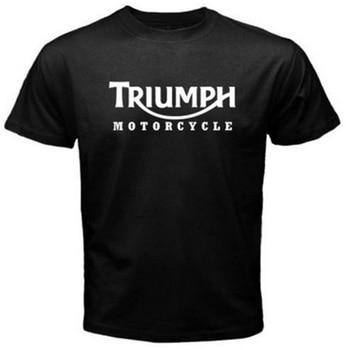 New Men's T Shirt TRIUMPH MOTORCYCLE Classic Logo Race Black Basic Tee Fashion Printed 100% Cotton Short Sleeve Shirts