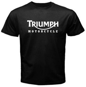 New Men's   T     Shirt   TRIUMPH MOTORCYCLE Classic Logo Race Black Basic Tee Fashion Printed 100% Cotton Short Sleeve   Shirts