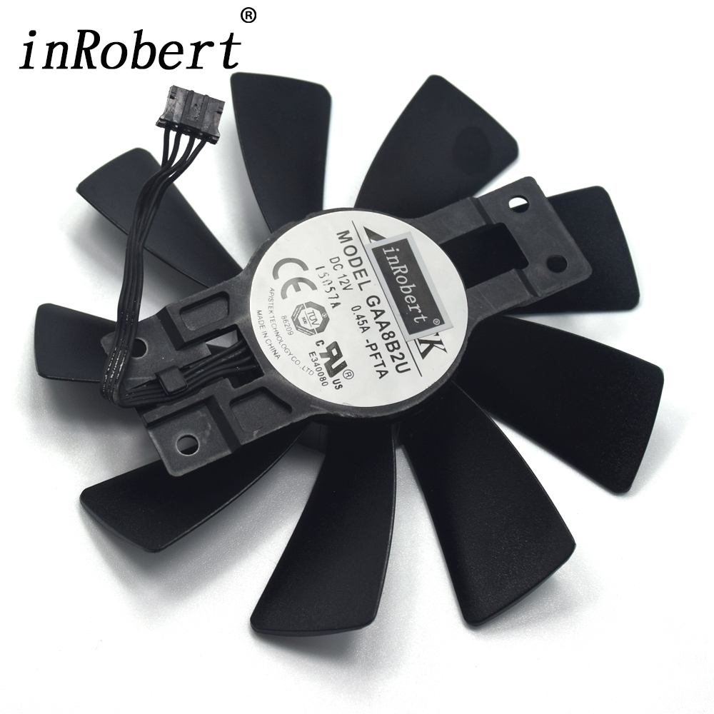 APISTEK 100MM GAA8B2U GAA8S2U GA8202U DC 12V 0.45A Cooling Fan For Sapphire R9 380X R9 380 4G D5 Graphics Video Card Fan ga8202u gaa8b2u 100mm 0 45a 4pin graphics card cooling fan vga cooler fans for sapphire r9 380 video card