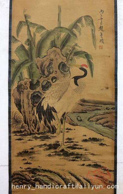 עתיק QingDynasty יד-צבוע סיני קליגרפיה ציור-מנוף, קישוט ציורי קיר, אמנות/אוסף & קישוט