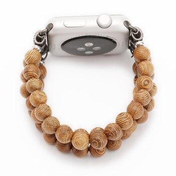 手作り竹ウッドビーズ弾性ベルトアップル iwatch 1 2 3 4 5 ブレスレット木製 apple の時計バンド 38 ミリメートル 42 ミリメートル 40 ミリメートル 44 ミリメートル