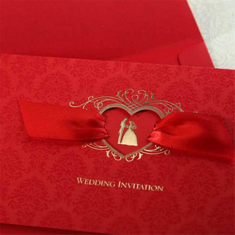 2017 New Heart Love Hollow Ribbons Wedding Invitations Set Blank Paper Red Invitation Cards Printing Convite for Casamento design laser cut lace flower bird gold wedding invitations kit paper blank convite casamento printing invitation card invite