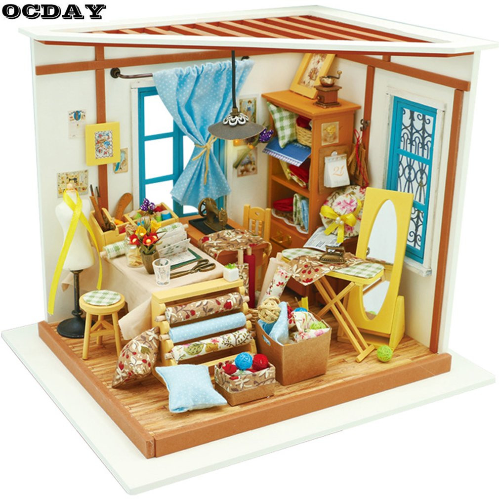 3D Wooden Puzzle Miniature DIY Dollhouse Handmade Furniture Kit Building Model Educational Toy Woodcraft Gift For Children Toys стоимость