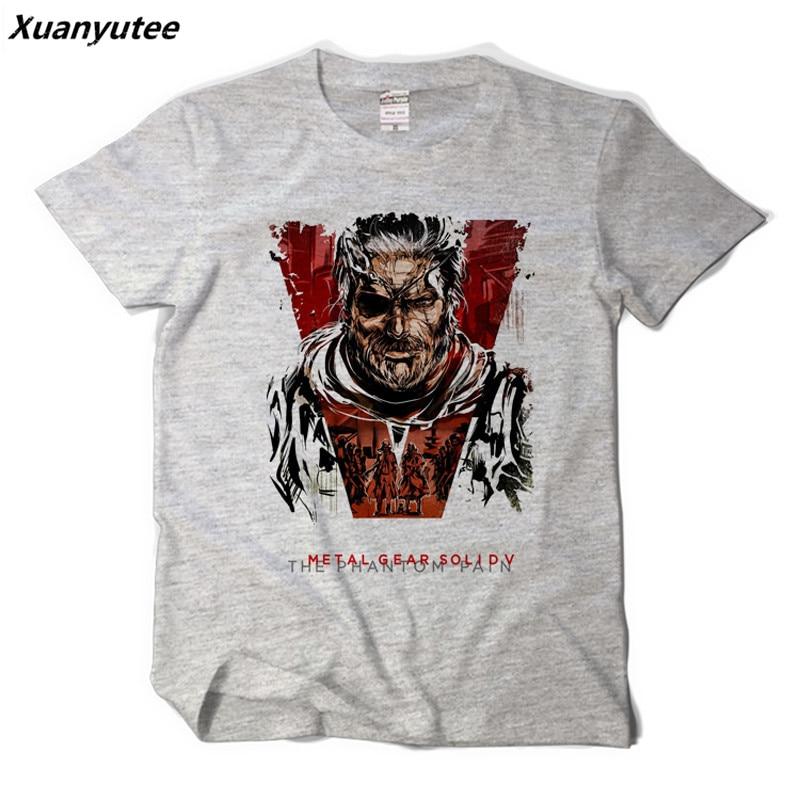 Xuanyutee The Phantom Pain Metal Gear Solid Tee Shirt Homme De Marque Short Sleeve O-Neck Cotton Print Summer Gamers T-shirt Men