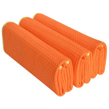 Sinland 16 Inch X 24 320gsm Thick Microfiber Waffle Weave Kitchen Towels Dish Drying Pack Of 3,Orange/edge Yellow