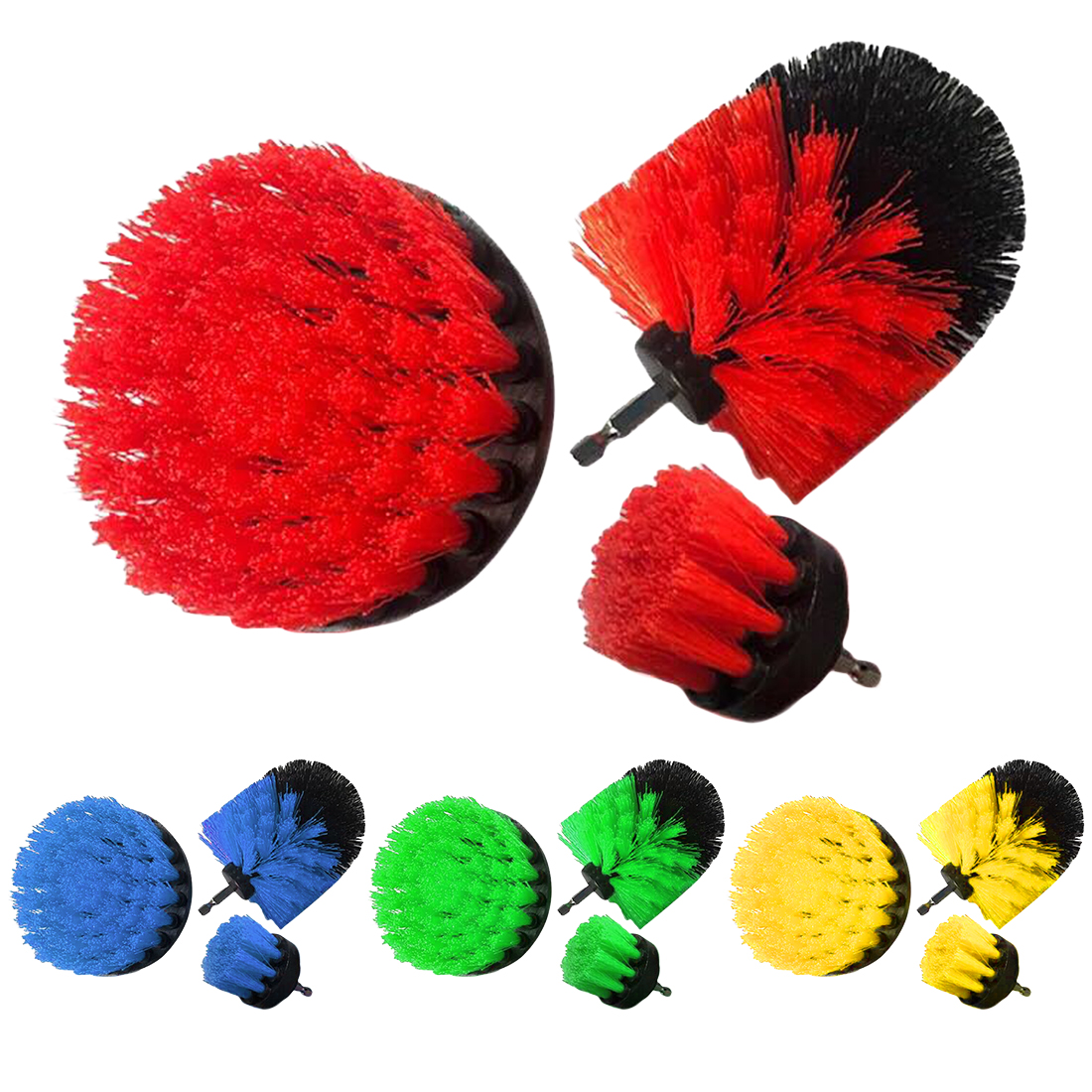 3pcs/set 2/3.5/4inch Electric Drill Brush Kit Tile Grout Scrubber Cleaning Drill Nylon Brushes Tub Cleaner Kit Polishing Tool недорого