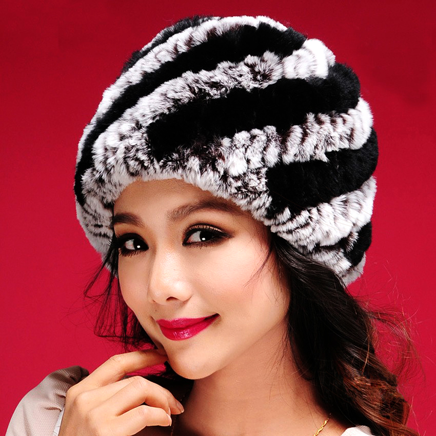 2017 Hot Sale New Women Warm Genuine Knit Rex Rabbit Fur Hat Cap Beadgear Headdress Various Fashion Women Lady Hat