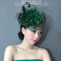 Green Feather Dotted Mesh Fascinator Floral Veil Hat Headdress For Bride Ladies Royal Tea Party Wedding Floral Hair Accessories