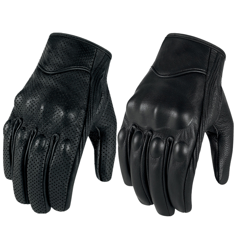 Image 3 - Motorcycle Gloves Leather Touch Screen Men Genuine Goatskin 