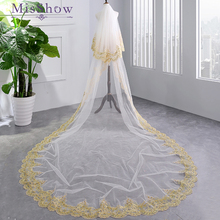 Luxury 3.5M White Ivory Cathedral Wedding Veils Long  Sequins Applique Edge Bridal Veil with Comb Accessories Bride