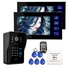 """Con conexión de cable 7 """"Pantalla Táctil a Color de Vídeo Teléfono de Puerta de Intercomunicación Sistema de 2 Monitores + RFID Teclado Numérico Cámara Al Aire Libre En EL ENVÍO LIBRE"""
