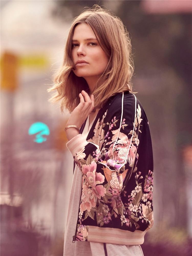Imprimé Femmes Printemps Off Col Manteau Vintage Zipper Blouson Floral À Manches Stand White Rayonne noir Automne Mode Longues QhrxtsCBd