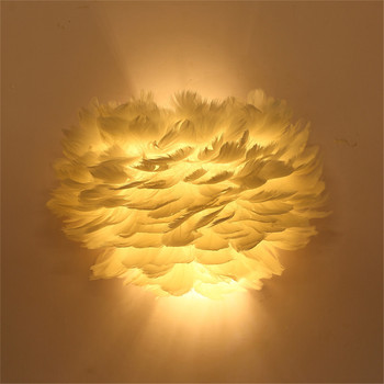 Thrisdar 12W Feather LED Wall lamp With E27 Base Art Personality Feather Bedroom Bedside Wall Light Foyer Study Hotel Wall Lamp