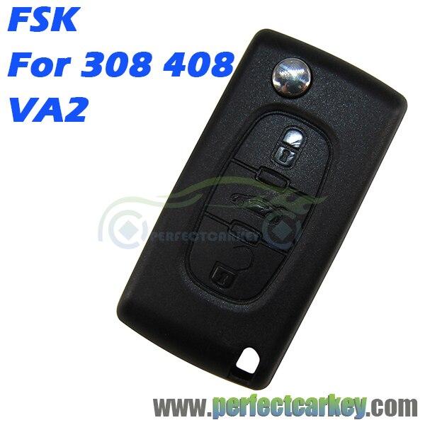 Prix pour Pour Peugeot 308 408 0536 type VA2 Rainure 433 Mhz 46 Électrique 7961 Puce 3 bouton voiture télécommande auto flip clé à distance sans clé