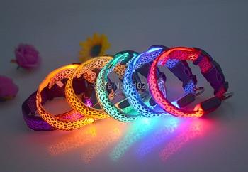 Leopard print  LED Nylon Pet Dog Cat Collar Night Safety LED Light-up Flashing Glow in the Dark Lighted Dog Collars