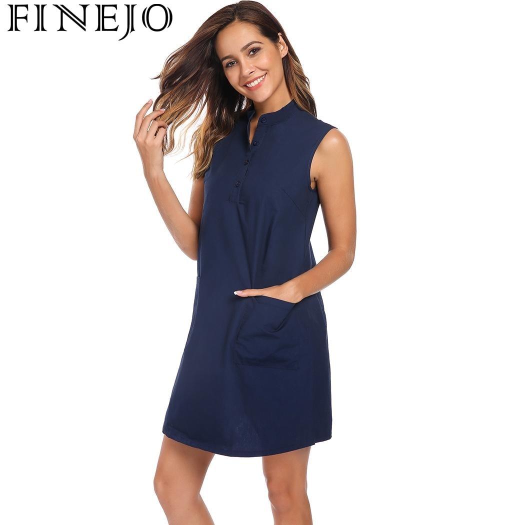 FINEJO D'été Femmes Robe 2018 Nouvelle Mode Stand Col Sans Manches Mini Réservoir Robe Lâche Occasionnel Poche Décor Robes