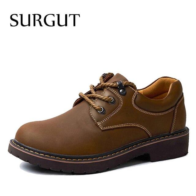 SURGUT Brand Handmade Breathable Men's Oxford Shoes Top Quality Dress Shoes Men Flats Fashion Genuine Leather Casual Shoes Men