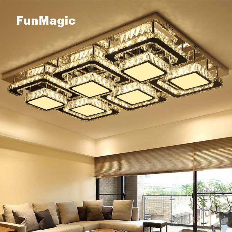 Modern Rectangle Diamond Crystal Lighting Ceiling Lights Dimming Surface Mount Bedroom Fixture Lamp Bright Living Room LED Light