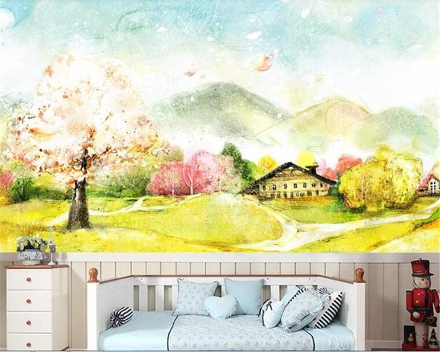 Beibehang Wallpaper For Walls 3d Beautiful Spring Garden Golden Meadow Fantasy Landscape Watercolor Korean Mural