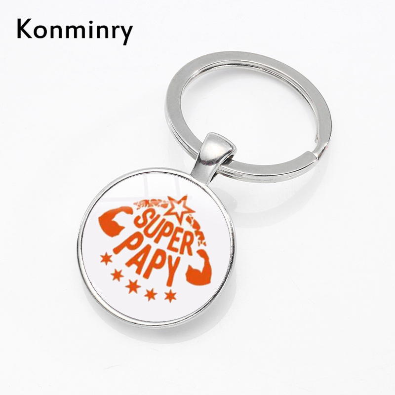 Super Papy Key Chains Holder Glass Dome Pendant Silver Color Metal French Word Grandpa Gifts Keyring Keychains Jewelry Konminry my grandpa