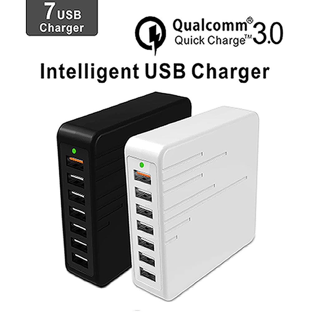 qualcomm 3 0 quick charge intelligent usb charger fast charging 7 port multiple usb charger. Black Bedroom Furniture Sets. Home Design Ideas