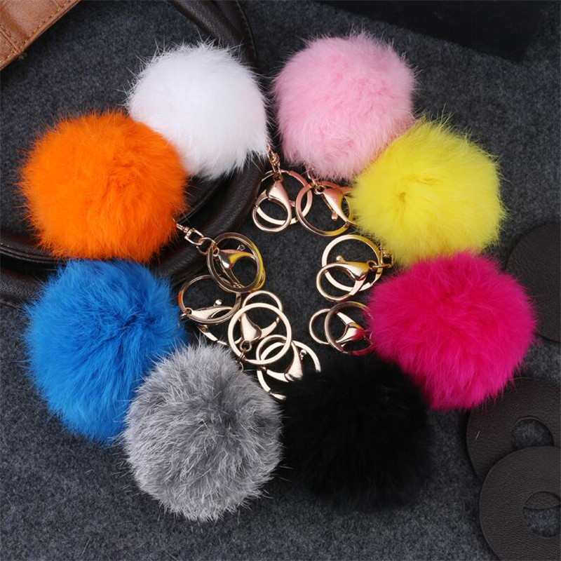 Hot Selling 8CM Faux Rabbit Fur Keychain Ball PomPom Cell Phone Car Keychain Pendant Gold Metal Buckle Charm Key Ring For Women