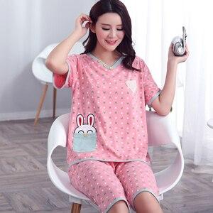 Image 3 - Plus Size XXXL 2020 summer sleepwear women pajamas sets v neck cartoon short sleeve pajama suit cotton women homewear suit soft