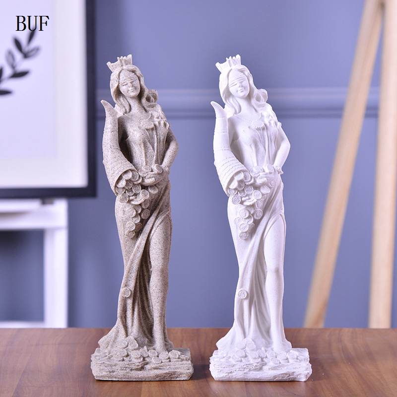 BUF Home Decoration Fashion Abstract Fortune Goddess Sculpture Ornament Handmade Sandstone Wedding Decoration Gift Sculpture