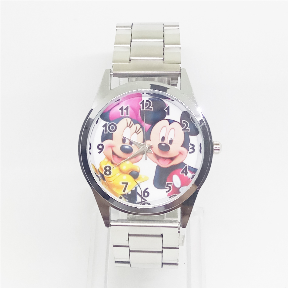 Kids stainless steel cartoon mouse quartz watch women dress wrist watches men mickey minnie clock for ladies girls female boys 40cm new lovely mickey mouse and minnie mouse plush toys stuffed cartoon figure dolls kids christmas birthday gift