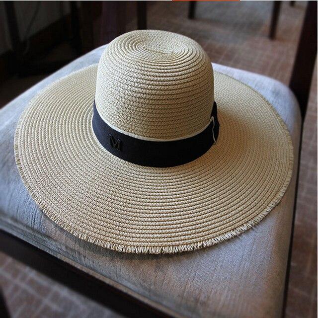 Donne CALDE Floopy Stile Cappello di Paglia di Estate Cappelli Della Fedora di  Paglia grande Tesa fb86a136a4ed