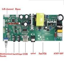 AC 220 V Bluetooth subwoofer amplifikatör Kurulu 2.1 Kanal Bas Optik fiber AUX USB Dijital Ses Stereo Amplifikatörler 15 W * 2 + 30 W