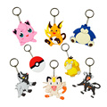 8 Styles Cartoon Pokemon Figures Pvc Keychains Anime Pikachu Bulbasaur Gastly Chansey Squirtle Mew Meowth cute pendants