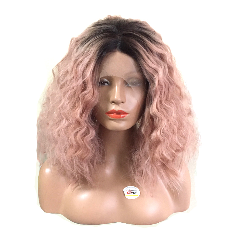 DLME 14 inches short water wave heat resistant fiber ombre dart roots smoke pink soft synthetic