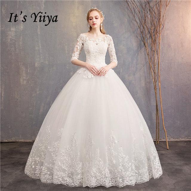 3582526531572 It's YiiYa Wedding Dresses 2019 Appliques Lace Embroidery O-neck Half Sleeve  Floor-length