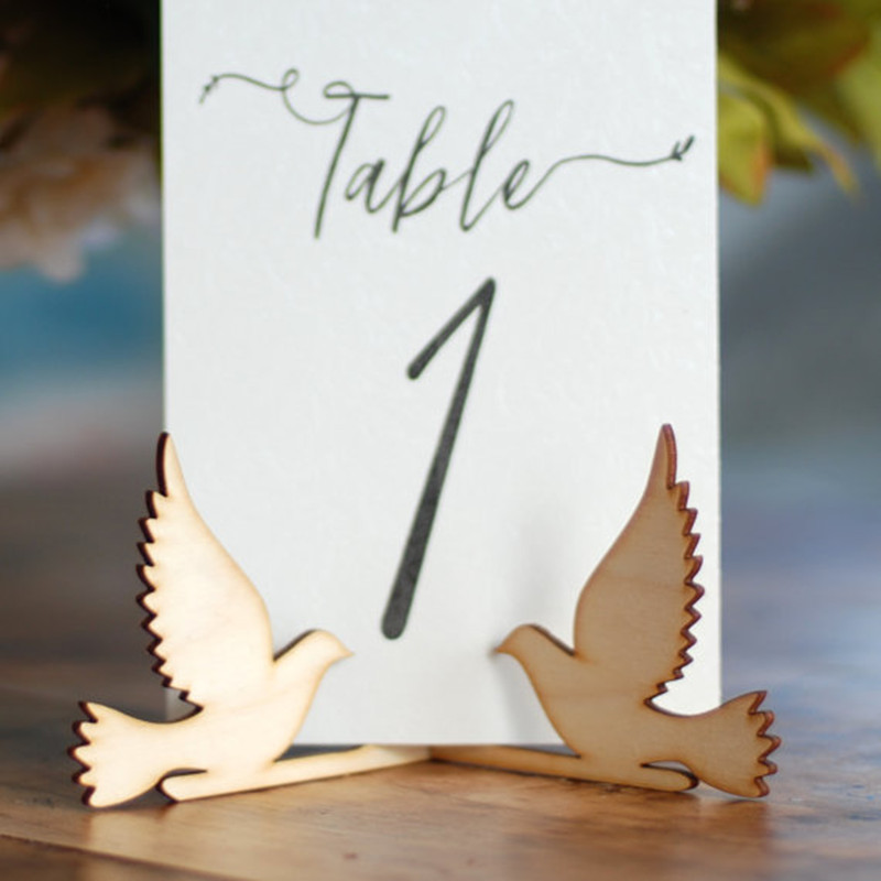 10x Wood Wooden Dove Bird Table Number Holder Stand Wedding Menu Sign Holder DIY Party Decorations